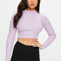 Missguided - Purple Crew Neck Cropped Ribbed Sweater