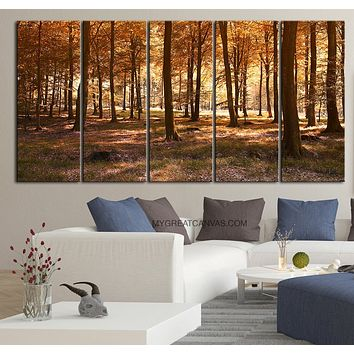 LArge Wall Art Canvas Print Autumn Forest Forest Art Canvas Print Trees Forest Canvas Painting