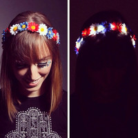 LED Patriotic Red White And Blue Daisy LED flower crown