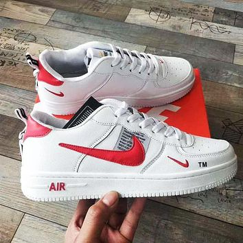 NIKE AIR FORCE 1 Trending Women Men High tops Low tops Classic Sneakers Sports Shoes White+red hook
