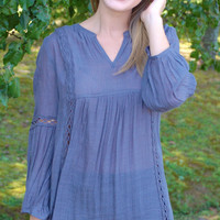 Lost In The Moment Tunic-Charcoal