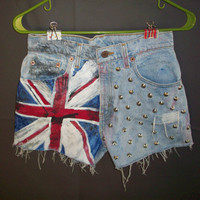 Hand-Painted Flag Shorts size 7 or 26 waist UK Union Jack British Levi's High Waist