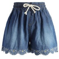 Scrolled Hem Denim Shorts in Navy Blue Blue