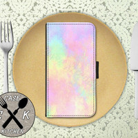Pastel Watercolor Pink Rainbow Tumblr Inspired Cute Custom Wallet Phone Case For The iPhone 4 and 4s and iPhone 5 and 5s and 5c