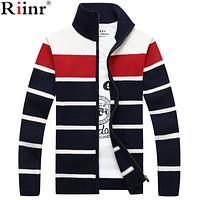 New Cardigan Men Stand Collar With Pockets Warm Thick Velvet Imported-Clothing High Quality Sweater Men