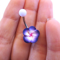 Periwinkle Purple Hawaiian Flower Plumeria Belly Button Ring Hawaii Navel Stud Jewelry Bar Barbell Piercing Tropical Hibiscus
