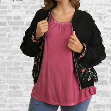 Embroidered Ruffle Bomber Jacket - Black - XL or 1X only