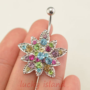 sunflower belly button jewelry,cute flower belly button rings,fabulous navel ring,rose piercing belly ring,friendship gift