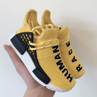 Pharrell x adidas NMD Human Race Yellow Black Toddler Kid Shoes Child Sneakers - Best Deal Online