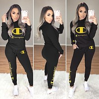 Champion Fashion Women Casual Long Sleeve Hooded Sweater Pants Two-Piece Black