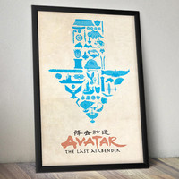 Avatar The Last Airbender Inspired Vintage Poster - Aang & Friends