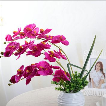Fashion DIY Artificial Butterfly Orchid Silk Flower Bouquet Phalaenopsis Wedding Home Living Room Decoration F1