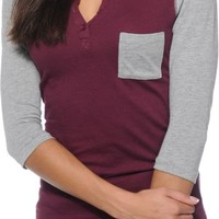 Zine Gamma Blackberry & Grey Henley Shirt