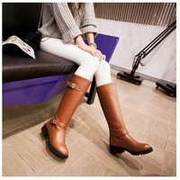 Double Buckle Low Heeled Motorcycle Boots Knee High Boots 2736