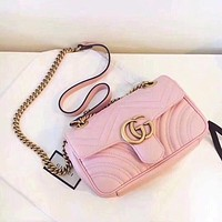 Wearwinds Gucci Hot Sale Women Shopping Bag Leather Metal Chain GG Buckle Crossbody Satchel Shoulder Bag Pink