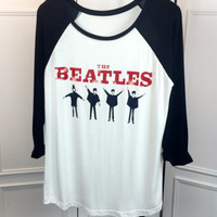 Beatles Print Raglan Sleeve Loose T-Shirt