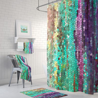 Teal and Purple Mosaic Shower Curtain Set - Morning Has Broken Abstract colorful shower curtain, shower set, extra long
