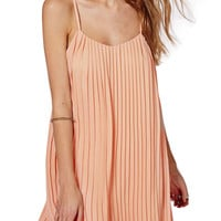 Apricot Chiffon Ruffled A-Line Swing Mini Cami Dress