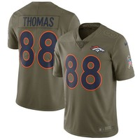 Men's Denver Broncos Demaryius Thomas Nike Olive Salute To Service Limited Jersey
