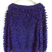 Vintage Shaggy Sweater -- Loop Knit Pullover with Pockets -- 80s Clovis Ruffin -- Boatneck -- Electric Purple & Black -- Size Medium / Large