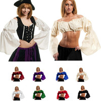 ATS BELLY DANCE Renaissance Crop Top Pirate Wench Costume Shirt Gypsy Fairy Costume Peasant Crop Top Renaissance Blouse Tribal Choli Top