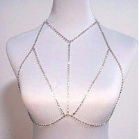 Crystal Rhinestone Gorgeous Bra Chest Body Chain Silver Harness Y strap style Necklace Jewelry