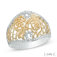 Vera Wang LOVE Collection 1/6 CT. T.W. Diamond Rose Lace Ring in Sterling Silver and 14K Gold - Size 6.5