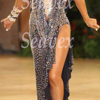 Ballroom Samba Cha Cha Latin Ramba Dance Dress US 6 UK 8 Gold Black Color