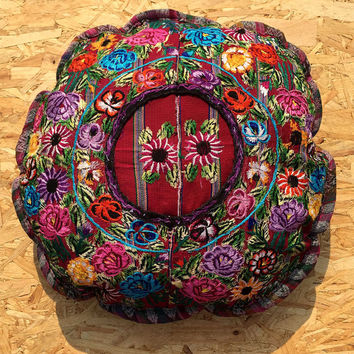 Mayan ethnic home - round cushion cover  design Mexican pillow handmade recycled home décor Guatemala floral red blue gold.