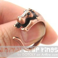 Realistic Hippo Animal Wrap Around Hug Ring in Copper - Sizes 4 to 9