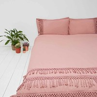 Tassel Duvet Cover in Rose - Urban Outfitters
