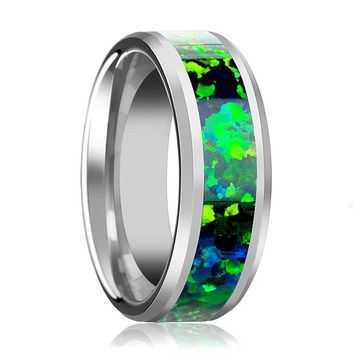 Men's Tungsten Beveled Wedding Band with Emerald Green and Sapphire Blue Opal Inlay