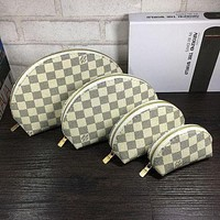 Hipgirls LV Louis Vuitton women's full-printed letter four-piece cosmetic bag accessories travel storage White