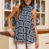 The Sea Grove Top, Navy-White