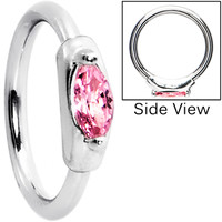 Silver 925 14 Gauge Rose Oval Austrian Crystal Closure Ring | Body Candy Body Jewelry