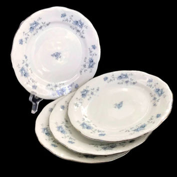Vintage Haviland China Johann Haviland Bread and Butter Plates Blue Garland Pattern 1970's Set of 4 Bavaria Replacement China Floral Pattern