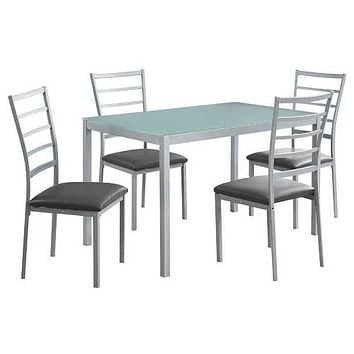 """72"""" x 82'.5"""" x 105"""" Silver, Grey, Metal, Foam, Tempered Glass, Leather-Look - 5pcs Dining Set"""