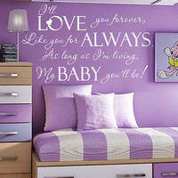 Wall Decal Quote I'll Love You Forever Decals Bedroom Home Decor Sticker MR635