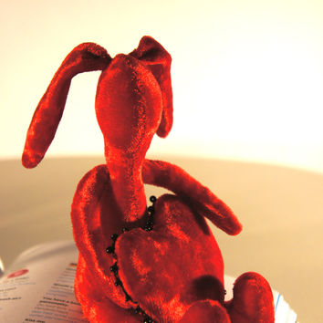 Red bunny toy with heart - Handmade bunny Toy - 4.7' (12cm)