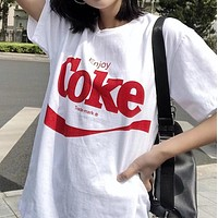 Coca-Cola Trending Women Men Loose Print Short Sleeve Couple T-Shirt Top I12583-1