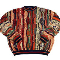 Vintage 90s Coogi Style Colorful Sweater Mens Size Large
