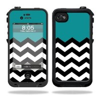 Mightyskins Protective Vinyl Skin Decal Cover for LifeProof iPhone 4 / 4S Case wrap sticker skins Teal Chevron