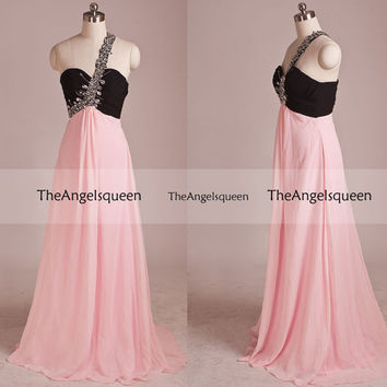 Sweetheart Black and Pink A-line Train Beading One Shoulder Long Evening Gowns,Bridesmaid dresses,evening dresses,party dress,senior dress