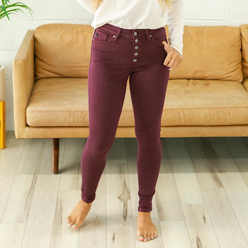 Image of KanCan Jessie Burgundy Button Up Jeans