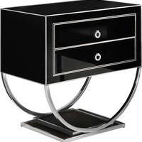Alyssa Side Table Chrome / Black Glass