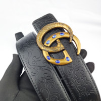 Gucci Retro Classic Casual Joker Men's Double G Smooth Buckle Belt