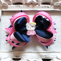 Hair Clips, Baby Hair Clips, Hello Kitty Hair Bows, Baby Headband, Layered Hairbows, Clippies, Baby Hairbows, boutique bows, baby hair