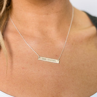 Soul Sisters Bar Necklace In Silver