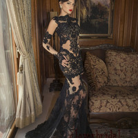 Sexy sheer see-though net beaded lace appliques mermaid black gothic wedding dress with long sleeves sweep train