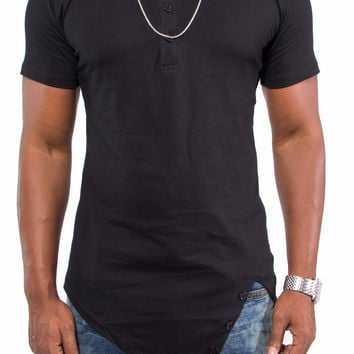 """""""Get Fit"""" Asymmetrical Hem Fitted Extended Shirt (Black)"""